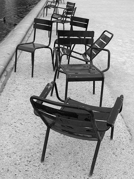 chairs conversing with friends